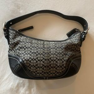 Black/white monogram Coach mini hobo bag